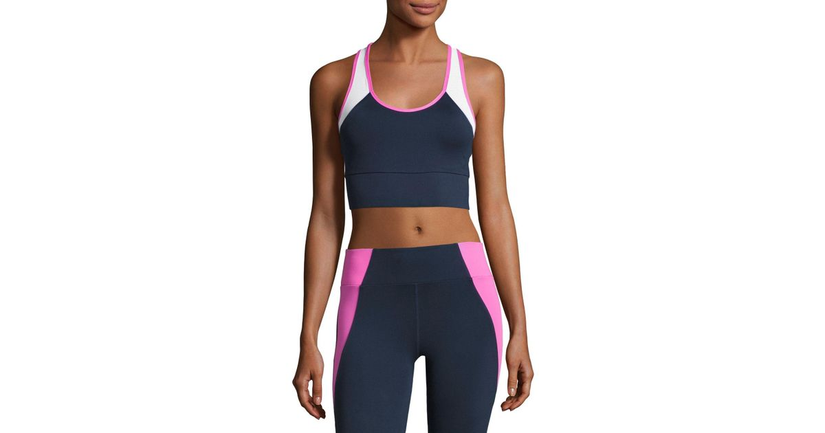 2138d82f0332d Lyst - Heroine Sport Tread Colorblock Sports Bra in Blue
