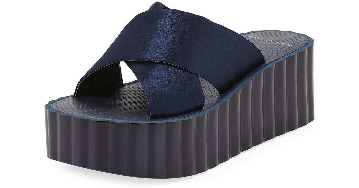 09fb20ab3b53 Lyst - Tory Burch Scallop Wedge Platform Slide Sandal in Blue