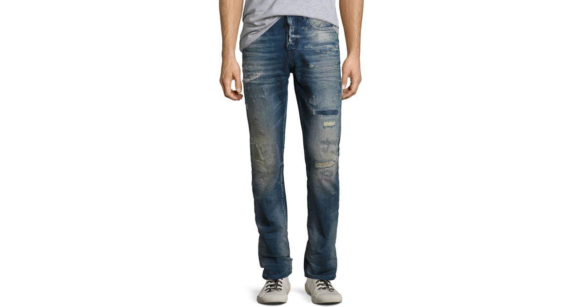 624fe7cf4be Lyst - PRPS Demon Distressed Denim Slim-straight Jeans in Blue for Men