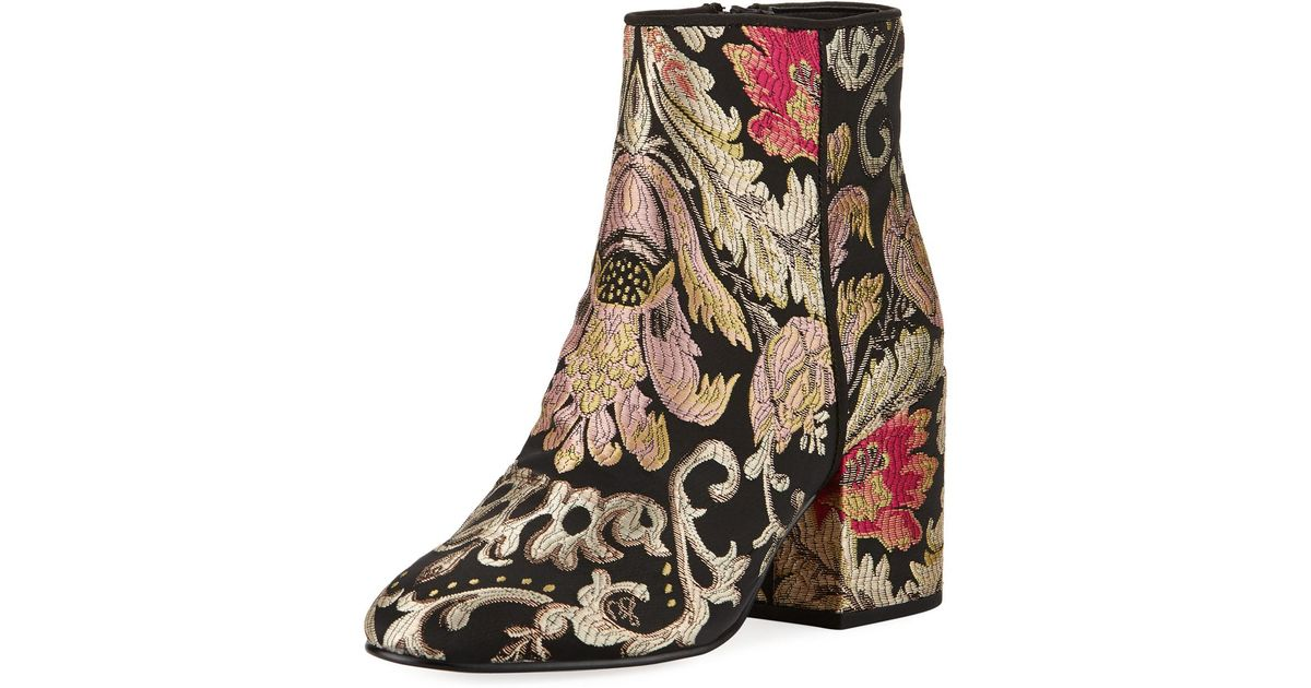 a59f1008007220 Lyst - Sam Edelman Taye Metallic Jacquard Ankle Boot in Black