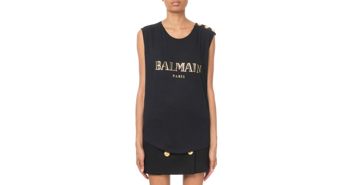 691833f88a6 Lyst - Balmain Button-shoulder Golden Logo Muscle Tee in Black