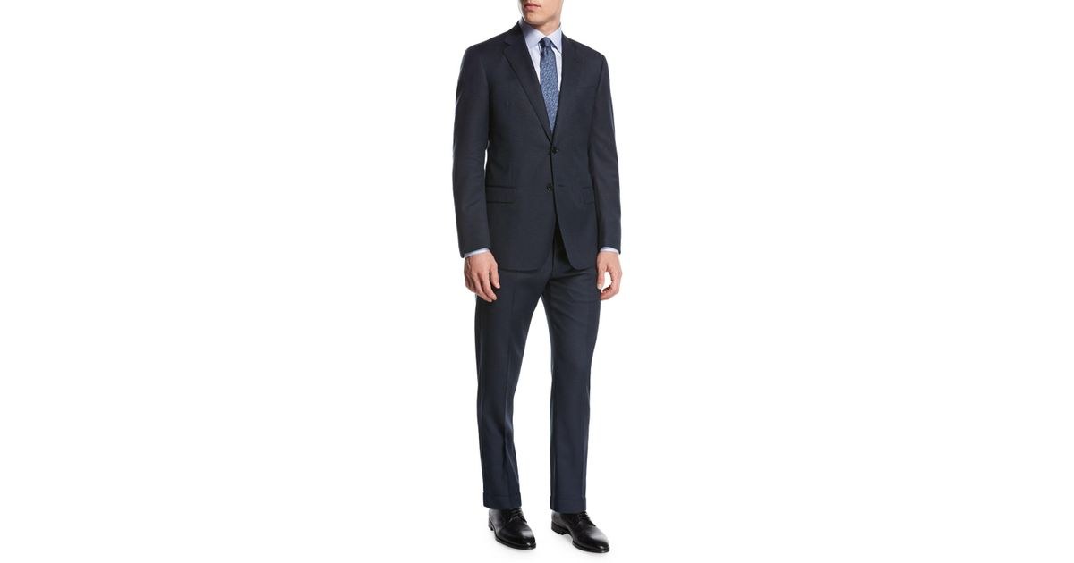 0fc463feed3 Lyst - Giorgio Armani Pindot Birdseye Wool Two-piece Suit Blue in Blue for  Men