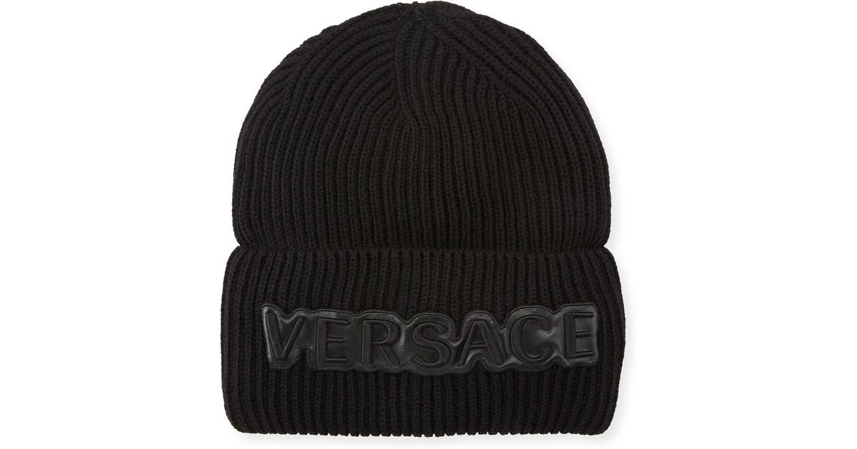 Lyst - Versace Men s Fold-over Beanie With Logo Applique in Black for Men 12a8f65e5ef