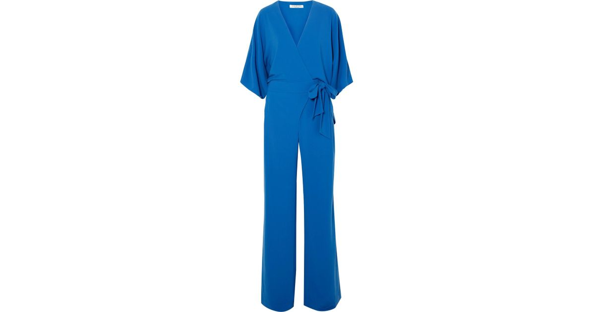 1d26ebe857f Lyst - Halston Crepe Wrap-effect Jumpsuit in Blue