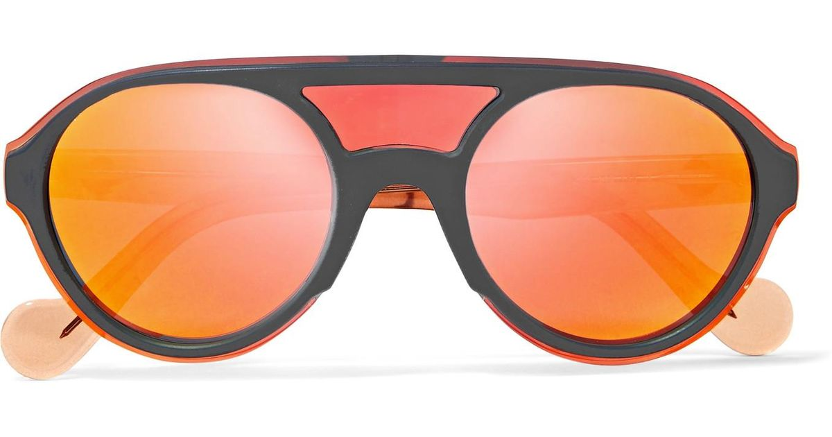 c7b9430e94d0 Lyst moncler frame acetate mirrored sunglasses in orange jpg 1200x630 Orange  mirrored sunglasses