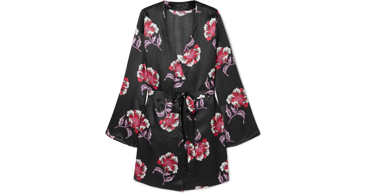 Lyst - Morgan Lane Langley Floral-print Satin Robe in Purple 210485afd