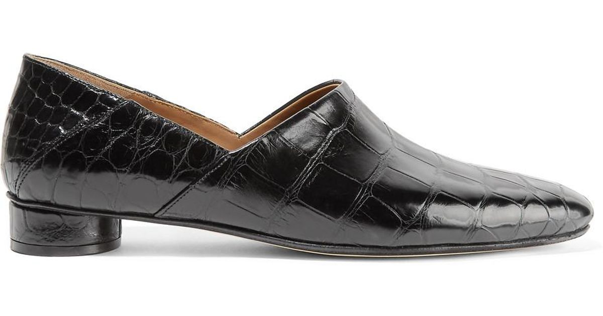b44bfee25bc Lyst - The Row Noelle Alligator Loafers in Black
