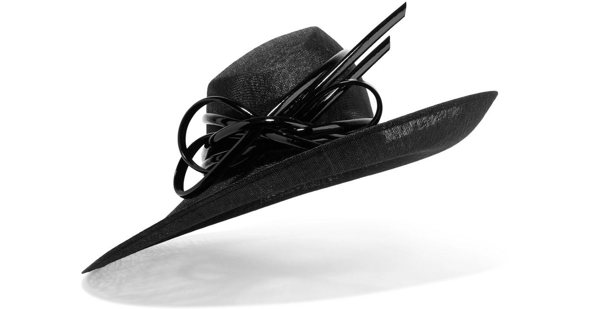 Philip Treacy Bow-embellished Sinamay Hat in Black - Lyst 5ff4405e804