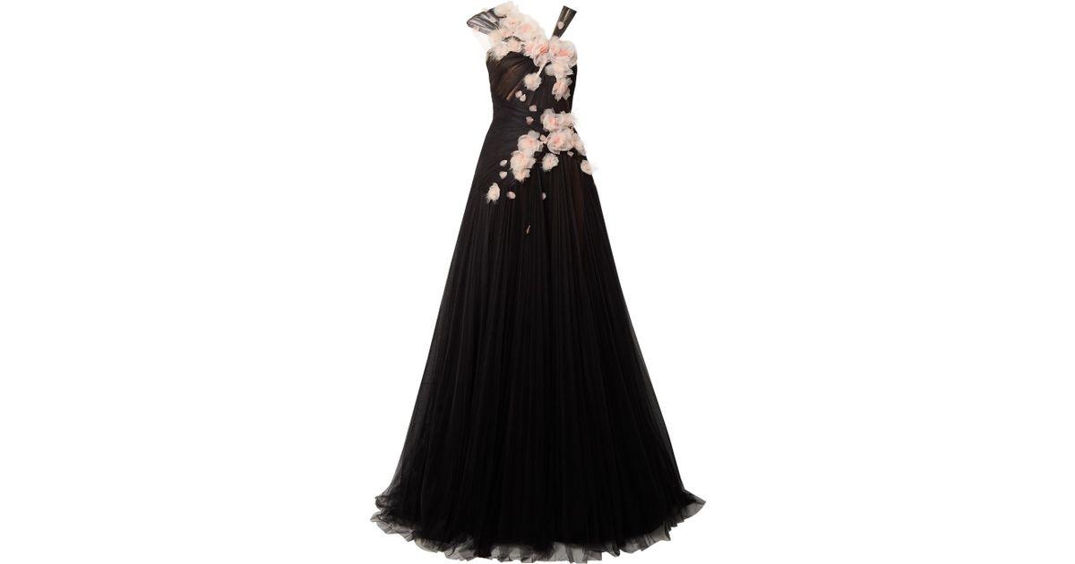 39b0b550 Marchesa Feather-embellished Appliquéd Tulle Gown in Black - Lyst