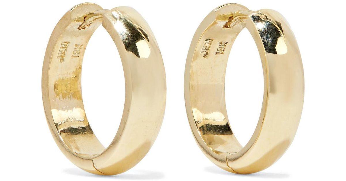 Lyst Jennifer Meyer Wide Huggies 18 Karat Gold Earrings One Size In Metallic
