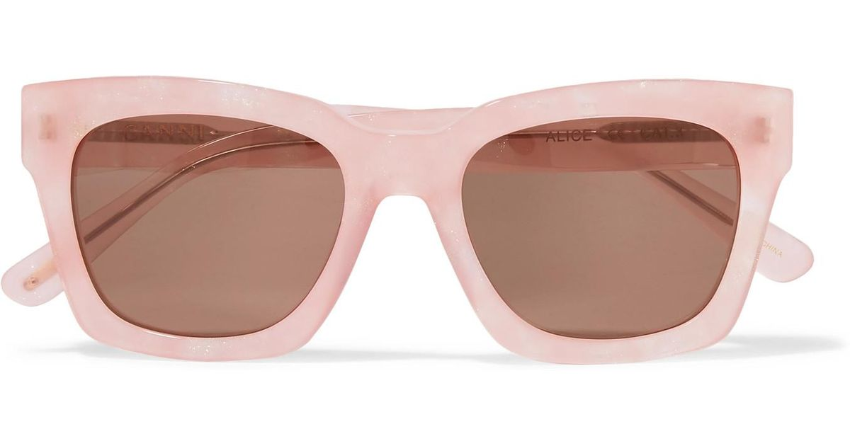627bcace8c44 Ganni Alice Square-frame Glittered Acetate Sunglasses in Pink - Lyst