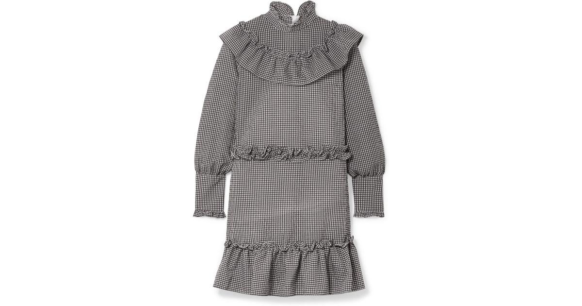 17b4abbf Ganni Charron Ruffle-trimmed Gingham Cotton-blend Seersucker Mini Dress in  White - Lyst