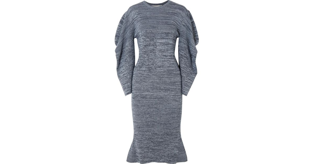 Mélange Cotton Midi Dress - Blue Stella McCartney Sexy Sport Fashionable Clearance Cheap Online The Cheapest Online KykKg