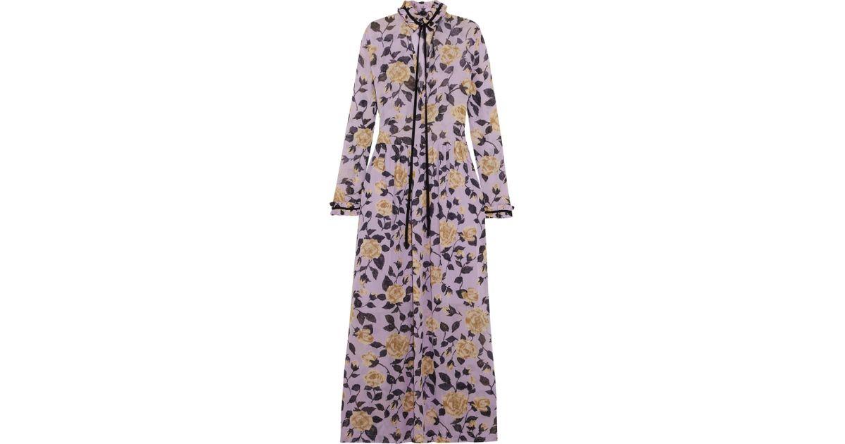 8c272954 Ganni Carlton Pussy-bow Floral-print Georgette Maxi Dress in Purple - Lyst