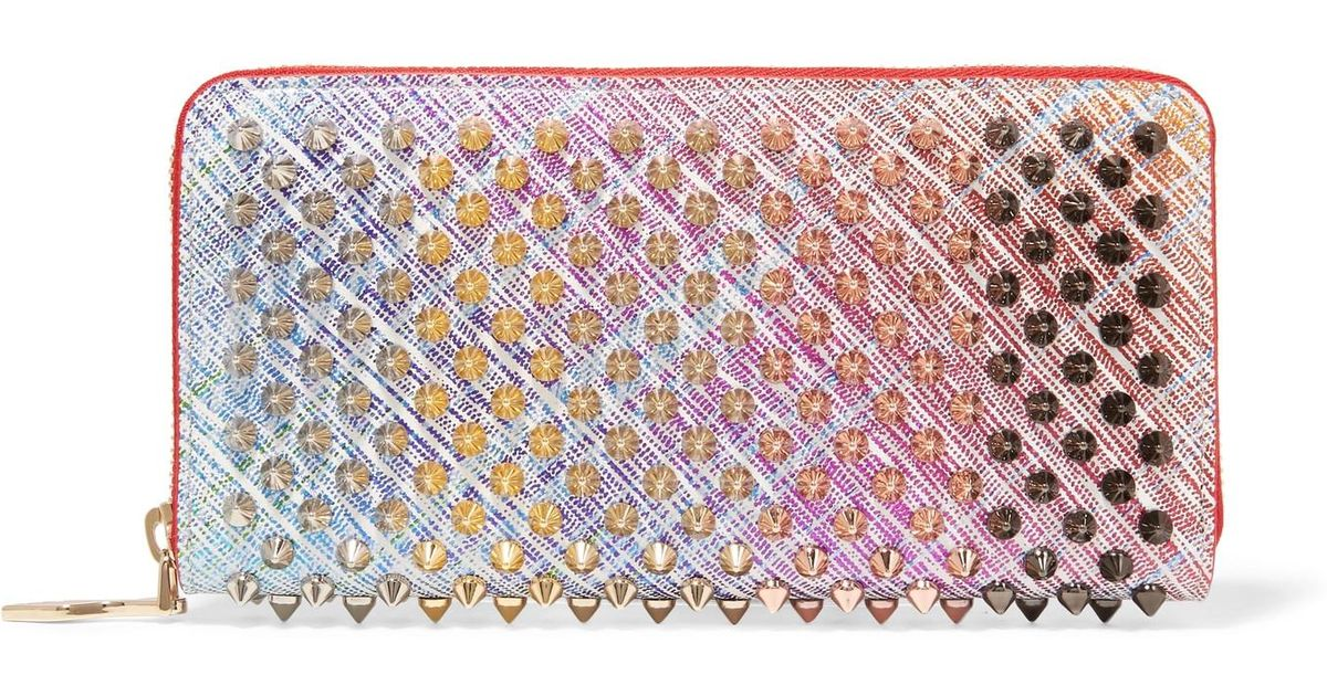 0025a711ba Christian Louboutin Panettone Spiked Metallic Suede Continental Wallet in  Pink - Lyst