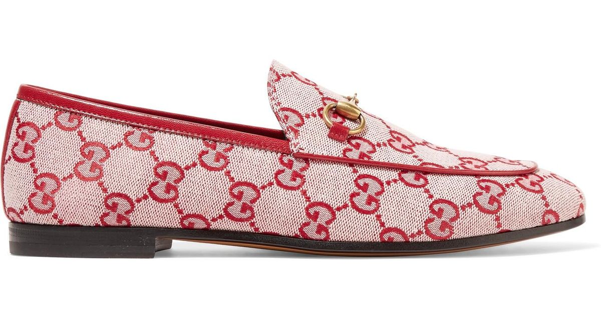 Jordaan Horsebit-detailed Leather-trimmed Logo-printed Canvas Loafers - Red Gucci QKbEcP