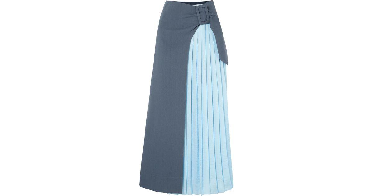 4ccbc3ebd65b Rejina Pyo Linda Pleated Cotton-blend Midi Skirt in Blue - Lyst