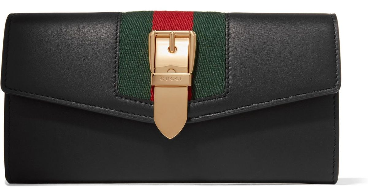 0e310f473 Gucci Sylvie Canvas-trimmed Leather Continental Wallet in Black - Lyst