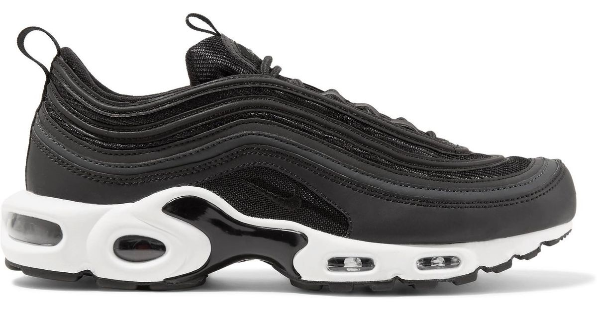 567ef6cefc8cfe Lyst - Nike Air Max Plus 97 Leather-trimmed Mesh Sneakers in Black