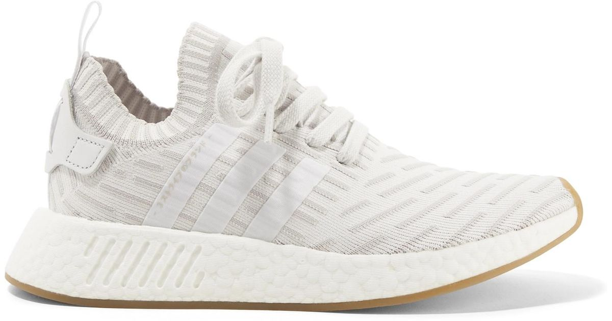 f6c507bd1 Lyst - adidas Originals Nmd r2 Leather-trimmed Primeknit Sneakers in White