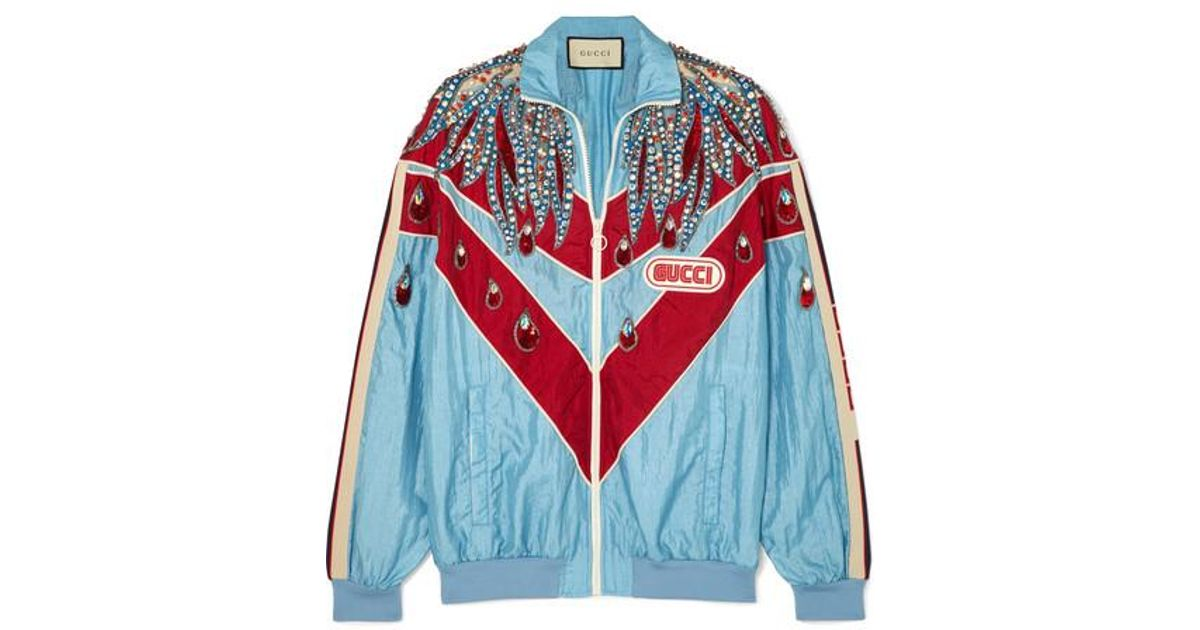 9212b8991 Gucci Paneled Embellished Shell Track Jacket in Blue - Lyst