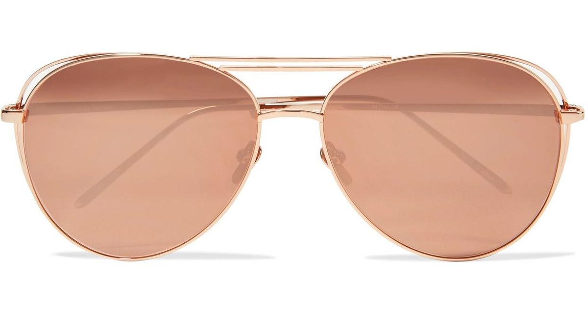 5e8f25cb2d7 Lyst - Linda Farrow Aviator-style Rose Gold-plated Mirrored Sunglasses in  Metallic