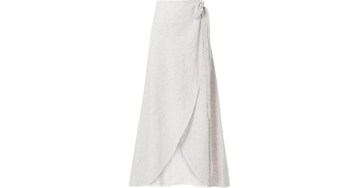 f1cce20b10005 Lyst - Jupe Longue Portefeuille En Lin à Rayures Et En Crochet Ballerina  Miguelina en coloris Blanc