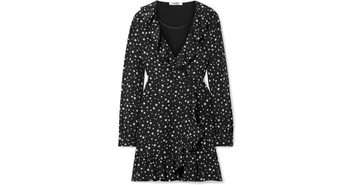 3a74662ae1a Lyst - Miu Miu Ruffled Printed Silk-crepe Wrap Mini Dress in Black