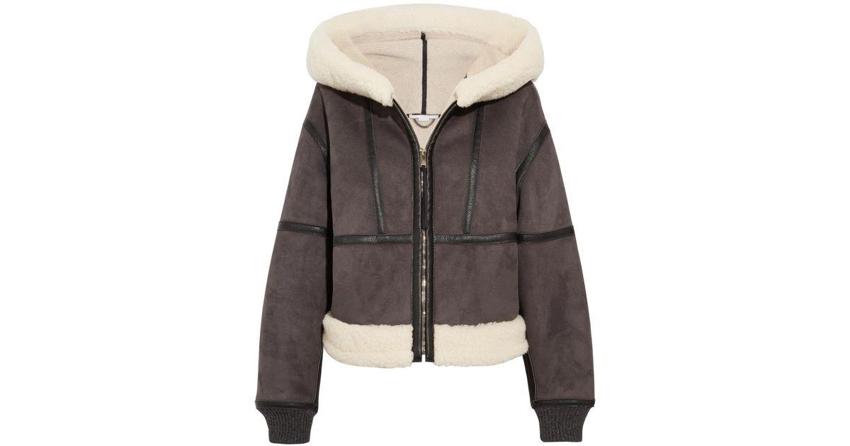 Lyst - Stella McCartney Hooded Faux Shearling Jacket in Gray 47eb9b794