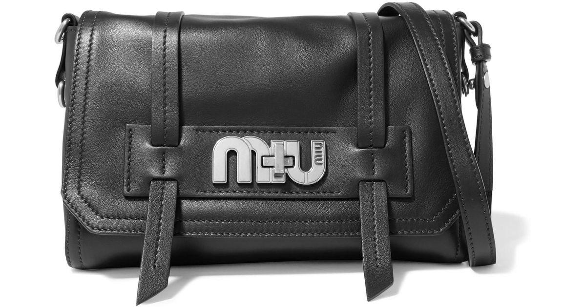 5540a111dbbb Lyst - Miu Miu Grace Leather Shoulder Bag in Black