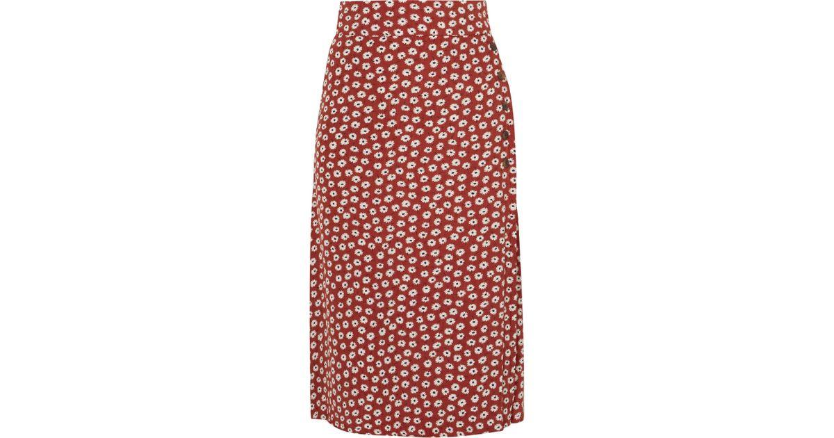 f79ab67f68 Faithfull The Brand Joy Floral-print Crepe Midi Skirt in Red - Lyst