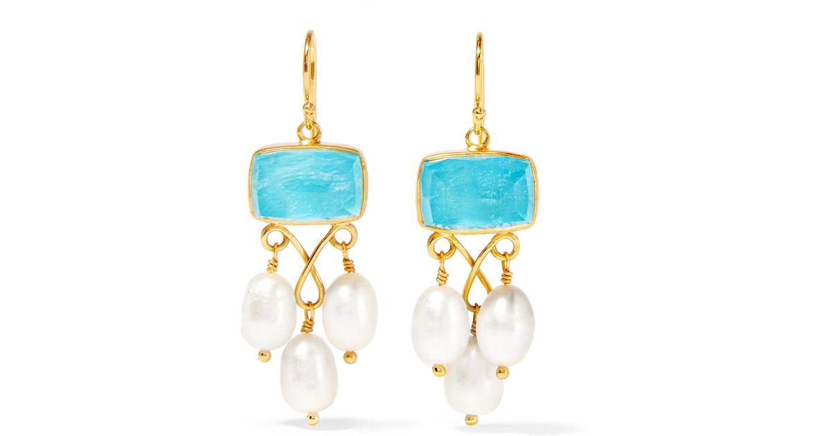 Peacock Fringed Gold-plated, Quartz And Chrysocolla Earrings - White Katerina Makriyianni