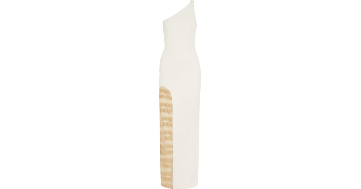 Petraone One-shoulder Stretch-ponte And Metallic Mesh Gown - Ivory Haney LH6VipvhtE