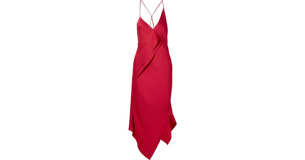 Jimboy Asymmetric Hammered Silk-satin Midi Dress - Claret Roland Mouret Wholesale RB5Lq1