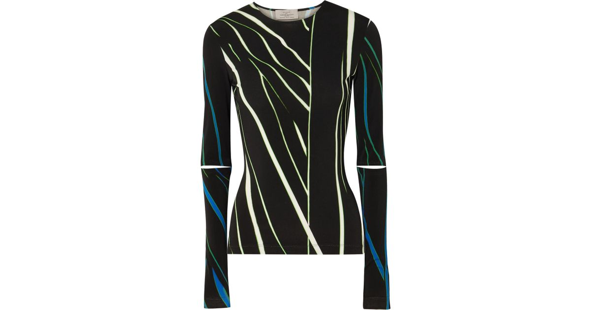 b41b6446669f Lyst - Preen By Thornton Bregazzi Dee Cutout Printed Stretch-jersey Top in  Black