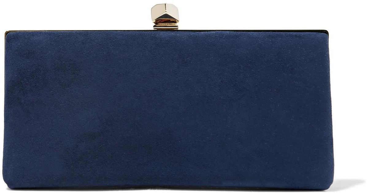 f90e78bd34 Jimmy Choo Celeste Small Suede Clutch in Blue - Lyst