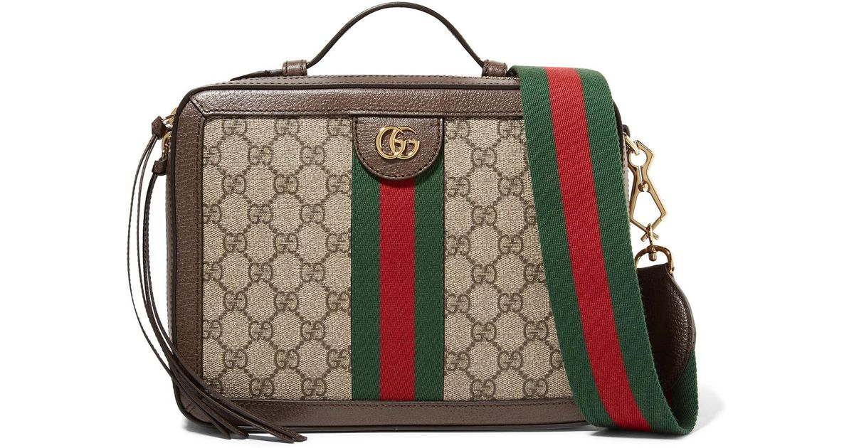 96415aac397f29 Gucci Ophidia Small Textured Leather-trimmed Printed Coated-canvas Camera  Bag in Brown - Lyst