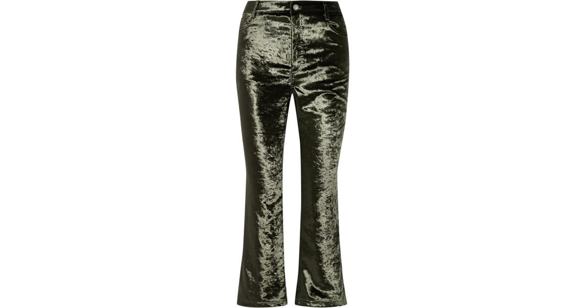 Cropped Velvet Flared Pants - Army green Opening Ceremony 6fbog