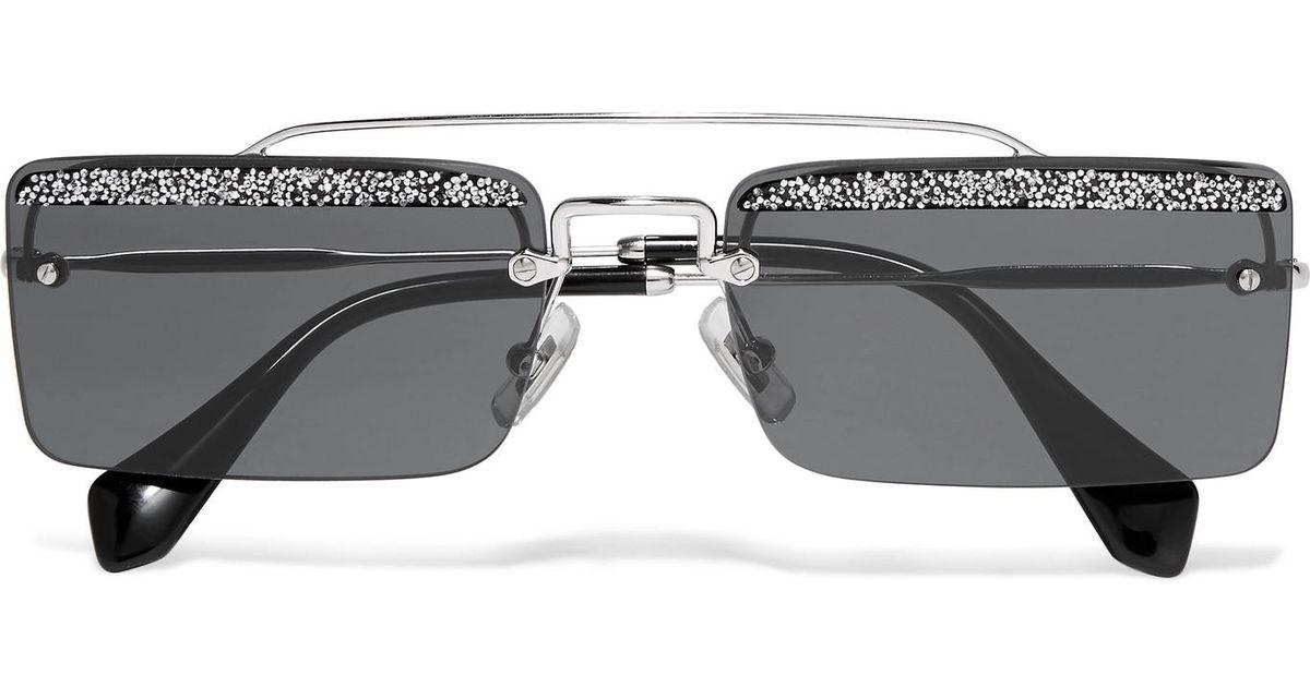 4119eb5b825e Miu Miu Crystal-embellished Square-frame Silver-tone And Acetate Sunglasses  in Gray - Lyst