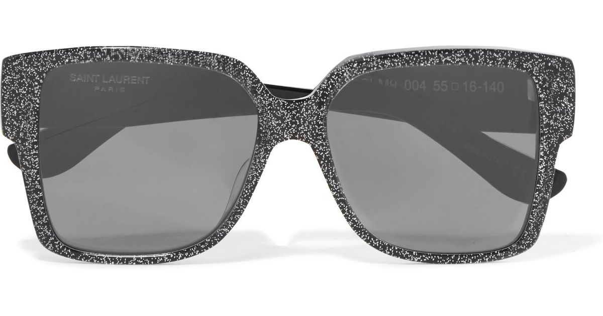 56f6775ee53 Saint Laurent Oversized Square-frame Glittered Acetate Sunglasses in  Metallic - Lyst