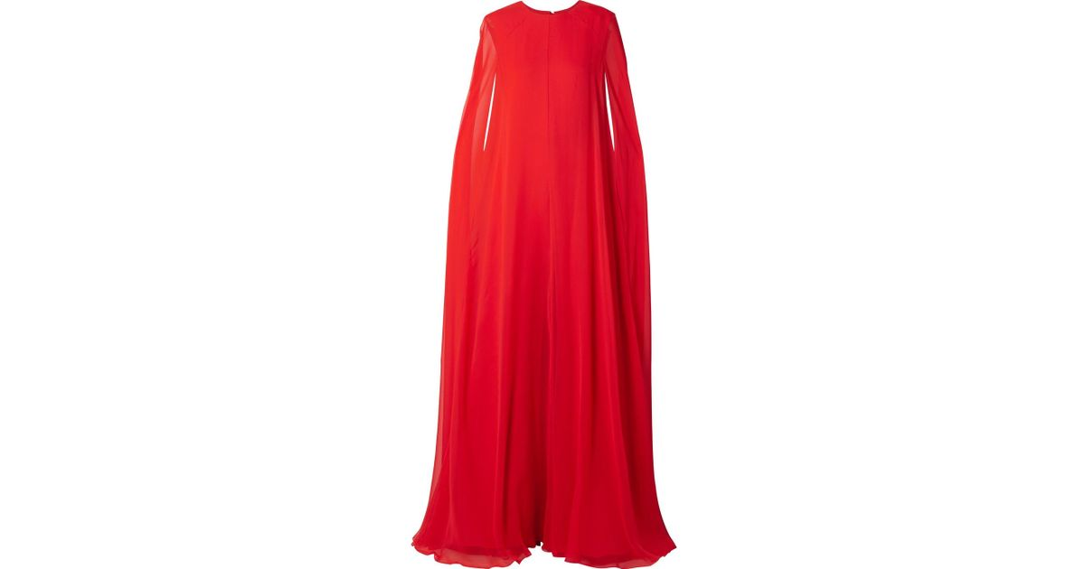 5cf7d65ee2d Lyst - Reem Acra Woman Cape-effect Silk-chiffon Jumpsuit Red in Red