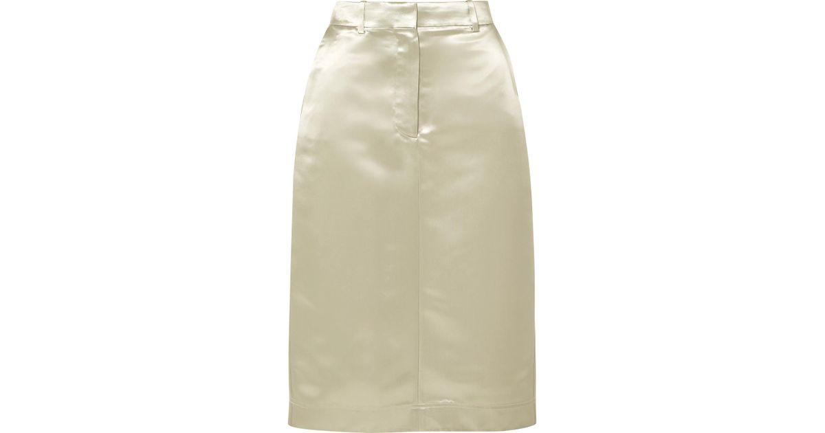 5b453acfde Lyst - CALVIN KLEIN 205W39NYC Satin Midi Skirt in Metallic
