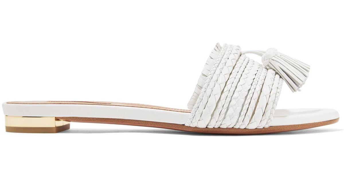 Sandales En Cuir Tressé à Houppes Sauvage - BlancAquazzura gs6VZ