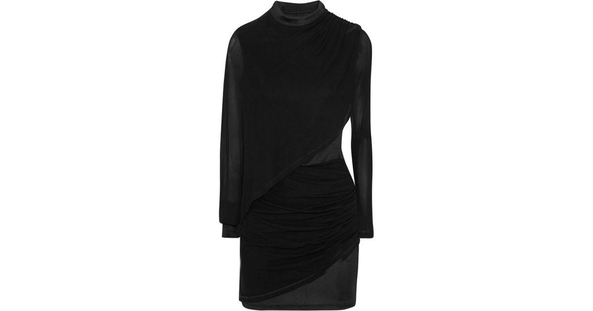 92f1cf57 Balmain Woman Ruched Chiffon-paneled Jersey Mini Dress Black in Black - Lyst