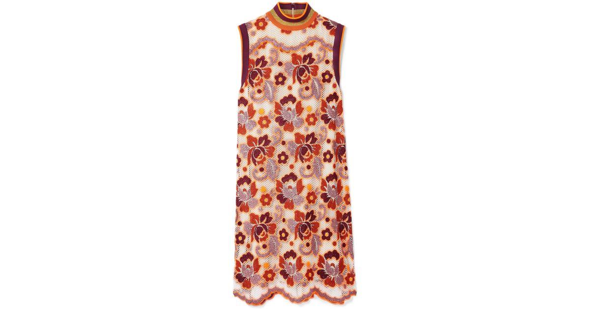 Crocheted Lace Mini Dress - Orange Burberry Outlet Clearance Store ktEru9D94