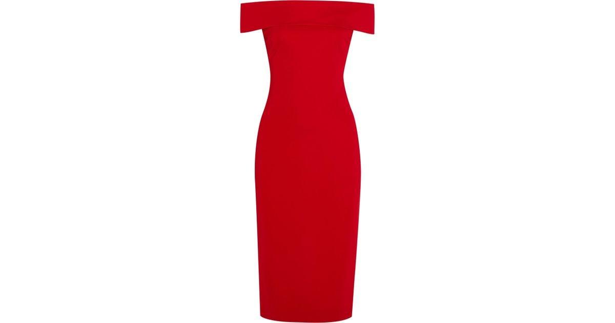 a8d1afb8284 Lyst - Cushnie et Ochs Layla Off-the-shoulder Stretch-cady Dress in Red