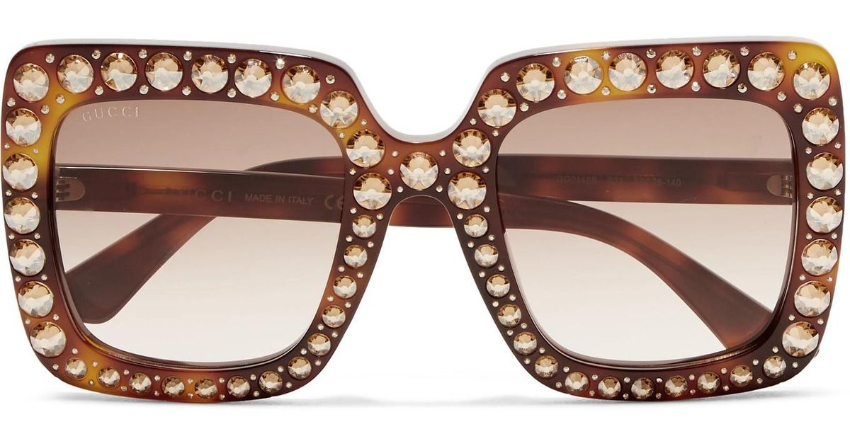 f585890db1149 Gucci Oversized Crystal-embellished Square-frame Tortoiseshell Acetate  Sunglasses in Brown - Lyst