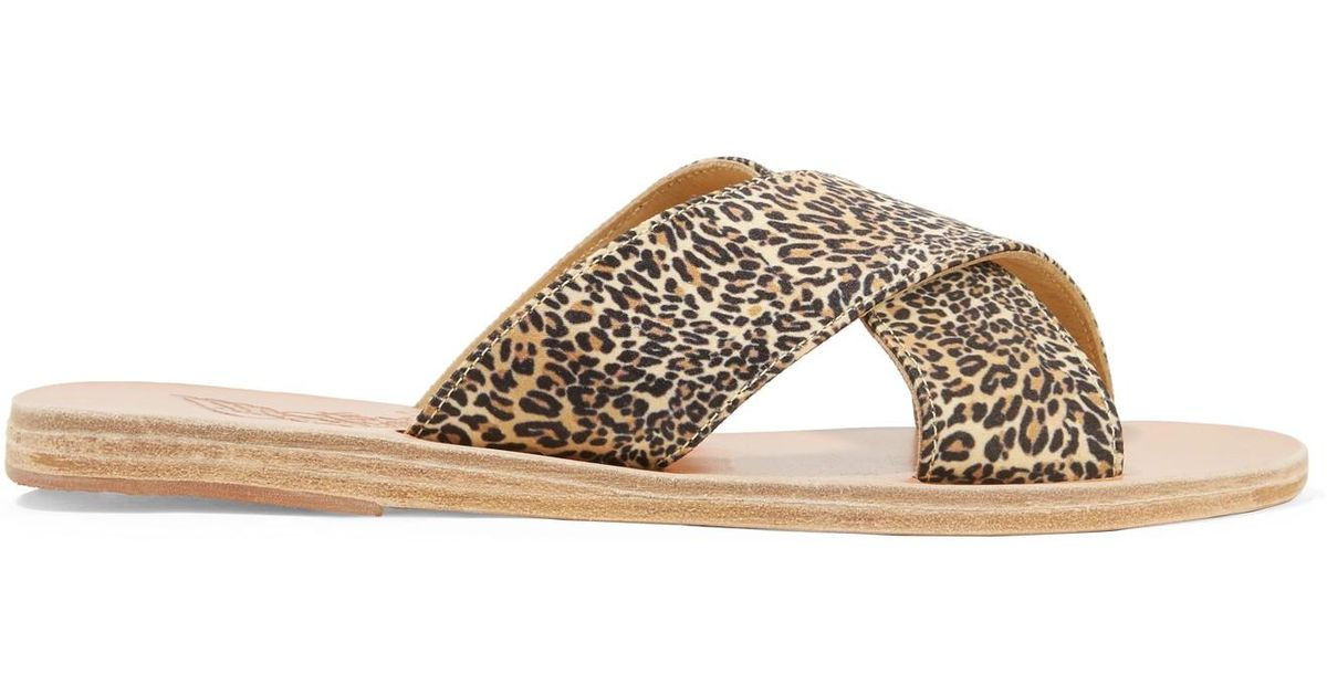 1140cba3ad40 Ancient Greek Sandals Thais Leopard-print Satin And Leather Slides in Brown  - Lyst