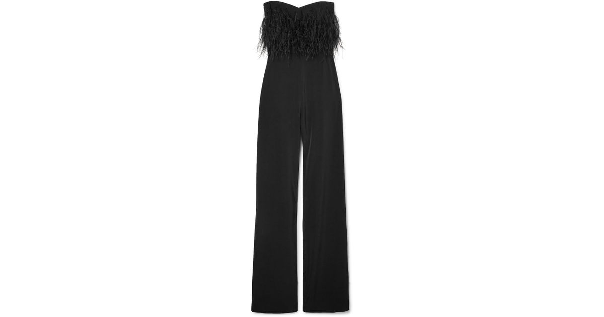 535669976f6b Saloni Aurelie Feather-trimmed Cady Jumpsuit in Black - Lyst