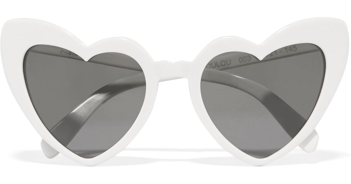 5b0113929a03a Lyst - Saint Laurent Loulou Heart-shaped Acetate Sunglasses in White